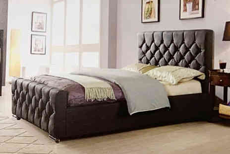 Furniture Instore - Galaxy double bed choose from black PU leather, champ velvet, grey or beige - Save 26%