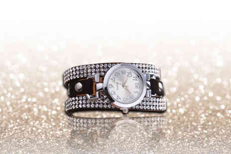 London Exchain Store - Crystal bracelet wrap watch silver or gold - Save 85%