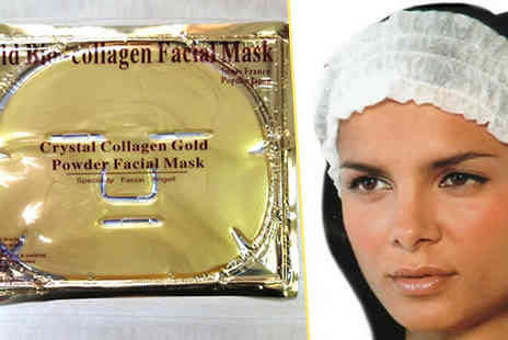 Forever Cosmetics - 10 x Gold Collagen Face Masks plus Free Head Cap - Save 86%