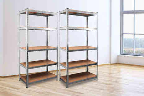 Home Empire - Pair of galvanised heavy duty five tier shelving units - Save 0%