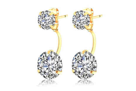 Styled By - Pair of gold plated double drop earrings - Save 88%