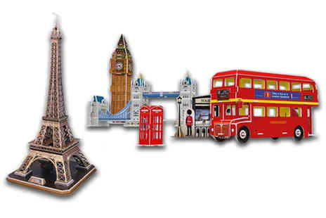 Wowcher Direct - 3D jigsaw puzzle choose between the Eiffel Tower and London Tour sets - Save 0%