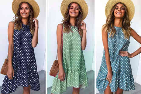 I Nod - Womens casual summer drop hem swing dress in Black, Navy, Coffee, Green, Red or Blue - Save 0%