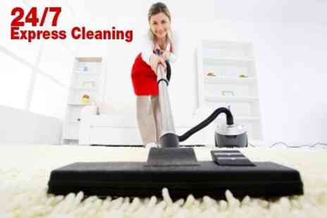 24/7 Express Cleaning - Carpet Solution and Steam Clean For Two Rooms - Save 84%