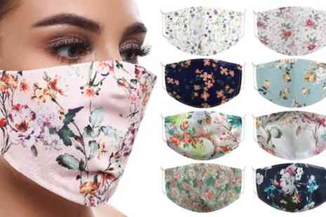 Groupon Goods Global GmbH - Up to 10 Floral Print Cotton Face Masks - Save 0%