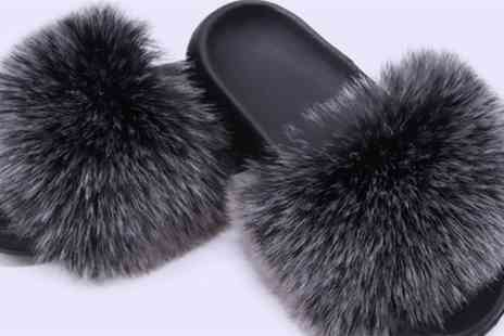 Groupon Goods Global GmbH - Womens Fluffy Faux Fur Open Toe Slippers - Save 52%