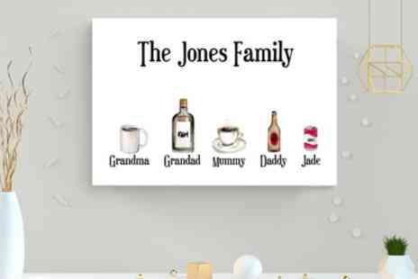 Gallery 51 - Personalised Drinks Canvas in Choice of Size - Save 72%