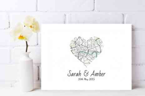 Gallery 51 - 18 Inch x 12 Inch or 22 Inch x 16 Inch or 30 Inch x 20 Inch Personalised Map Canvas - Save 81%