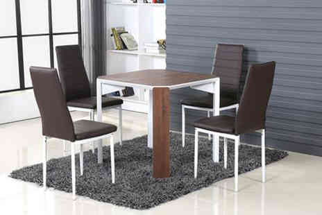 Big Furniture House - Two seater wooden-style dining table in brown - Save 0%