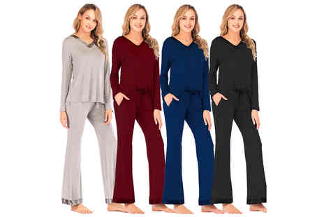 Wish Whoosh Offers - Womens lightweight long sleeve lounge set - Save 70%