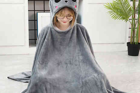MBLogic - Animal Hooded Plush Poncho Blanket - Save 70%