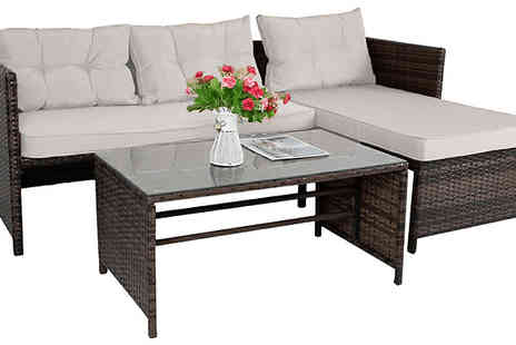 Furnishings Outlet - Rattan Corner Sofa and Table Furniture Set - Save 68%