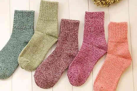 Domosecret - 5 or 10 Pairs of Cosy Knitted Socks - Save 65%