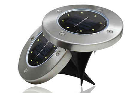 Arther Gold - 1 or 4 Pack of Solar Powered Ground Disk Lights - Save 70%
