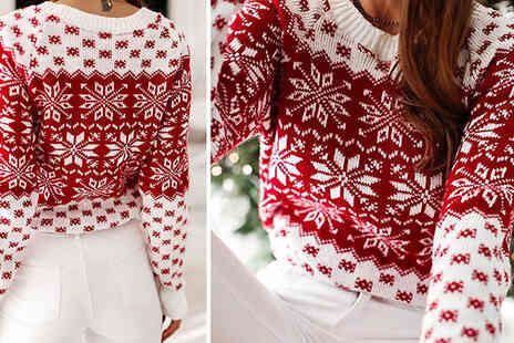Bag A Bargain - Knitted Snowflake Print Christmas Jumper - Save 70%