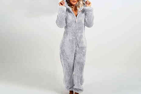 Wish Whoosh Offers - Fluffy Long Sleeve Hooded Bear Onesie - Save 71%