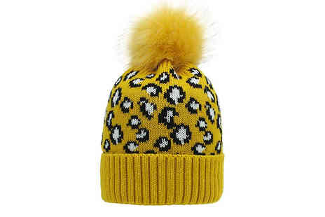 Wish Whoosh Offers - Leopard Print Knitted Bobble Hat - Save 65%