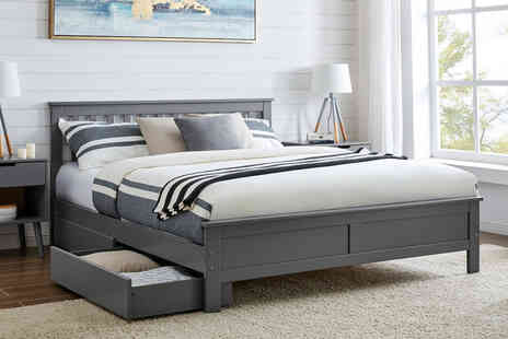 Furniture Box - Single modern grey solid pine bed - Save 0%