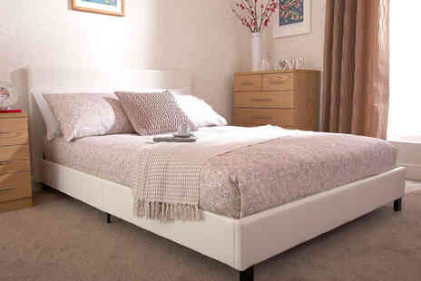 FTA Furnishing - Contemporary white faux leather bed frame - Save 0%