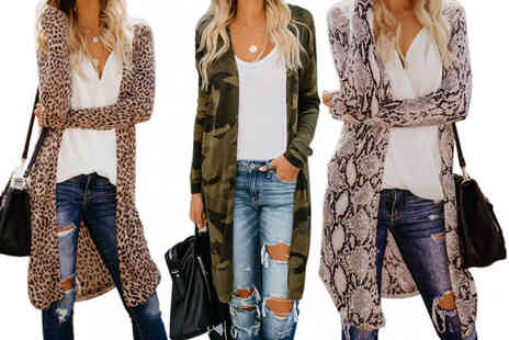 Yello Goods - Womens loose long length printed cardigan - Save 87%