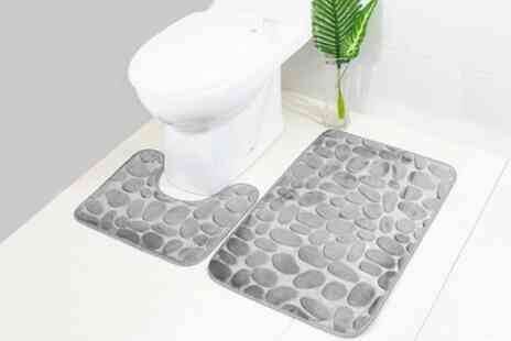 Groupon Goods Global GmbH - Two Piece Absorbent Pebble Bathroom Mat Set - Save 60%