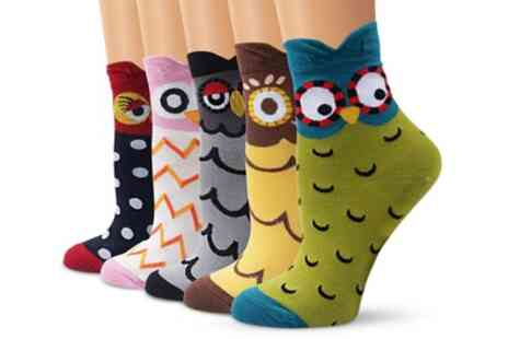 Groupon Goods Global GmbH - Five Pack of Owl Shaped Socks - Save 70%