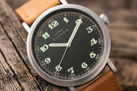 Elevon - Mens luxury leather band watch - Save 81%
