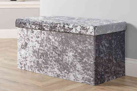Furniture Dealz - Rectangle ottoman in ice grey, ice silver, velvet grey, liner grey or blush - Save 62%