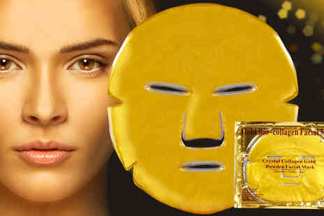 Forever Cosmetics - 10 gold collagen face masks and a protective shower cap - Save 84%