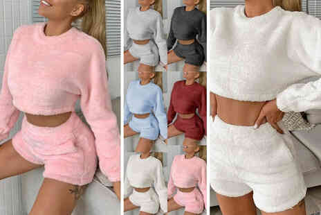 MBLogic - Womens two piece teddy lounge set in white, pink, grey, dark grey, wine red or light blue - Save 72%
