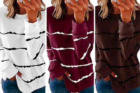 YelloGoods - Womens long sleeve striped top in a choice of seven colours - Save 82%
