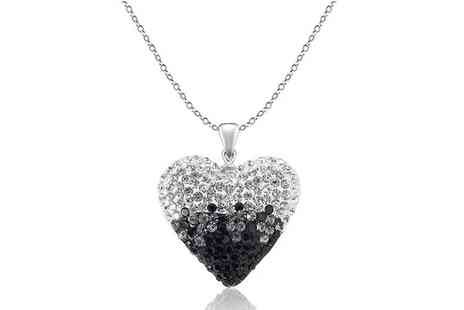 Evoked Design - Black and Silver Crystal Heart Necklace - Save 88%