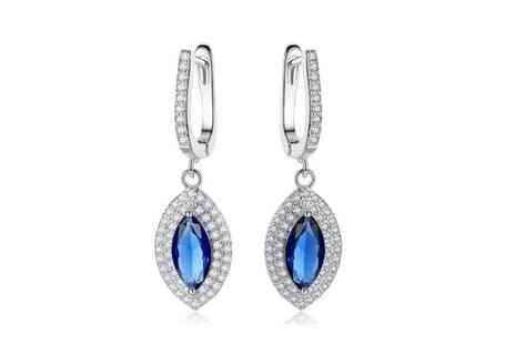Your Ideal Gift - Pair of crystal blue marquise drop earrings - Save 85%