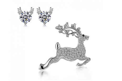 Your Ideal Gift - Reindeer brooch and earrings set - Save 85%