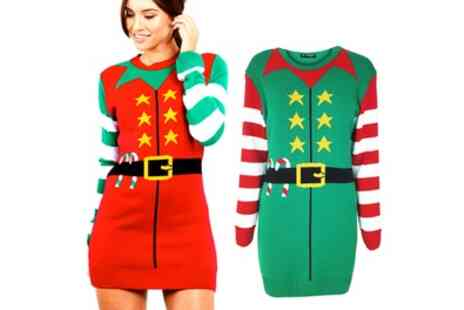 Groupon Goods Global GmbH - Oops Christmas Elf Knitted Jumper Mini Dress - Save 0%