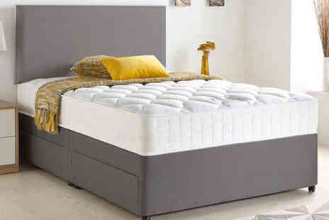DUREST BEDS - Grey Chenille divan bed with memory mattress - Save 85%
