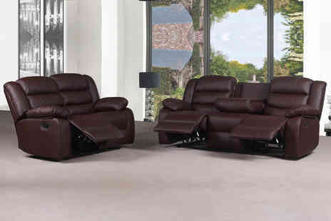 Comfy Living Uk - Roman three and two-seater brown recliner leather sofa - Save 36%