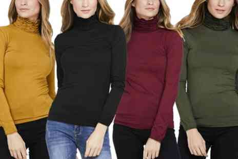 Groupon Goods Global GmbH - Ruffle Polo Neck Jersey Top - Save 0%