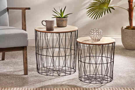 CJ Offers - Pair of geometric metal coffee tables - Save 50%