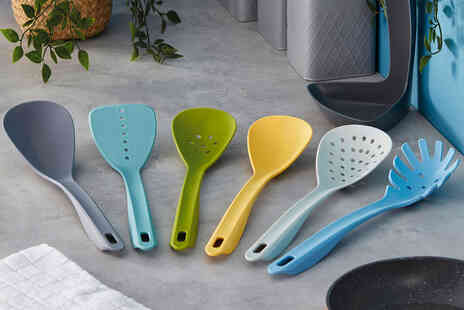 CJ Offers - Six piece nylon utensils set with spoon rest - Save 83%