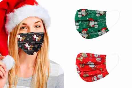 Groupon Goods Global GmbH - 10, 20 or 30 Christmas Themed Disposable Face Masks - Save 0%