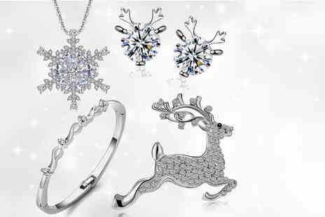 Your Ideal Gift - Four piece festive jewellery set made with Crystals from Swarovski - Save 81%