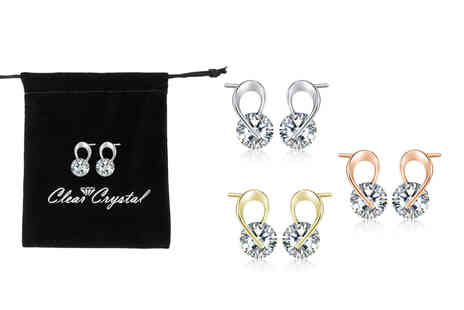 Your Ideal Gift - Ribbon tie earring set with crystals - Save 80%