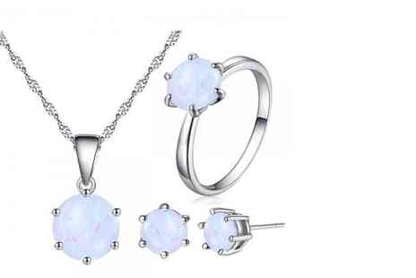 Your Ideal Gift - White Opal Pendent and Earring Set - Save 91%