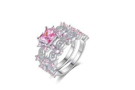 Your Ideal Gift - Glamorous Double Band Pink Crystal Ring - Save 87%