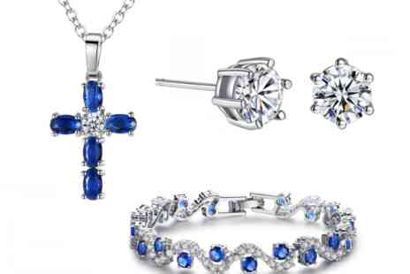 Your Ideal Gift - Sapphire Jewellery Set with Crystals from Swarovski - Save 90%