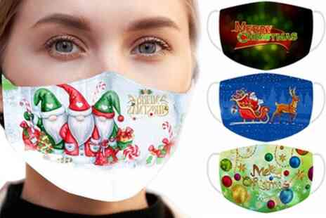 Groupon Goods Global GmbH - Reusable Christmas Digital Print Face Masks - Save 0%