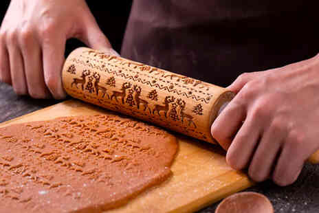 I Nod - Christmas embossed rolling pin in reindeer snowman and socks or pine tree prints - Save 66%