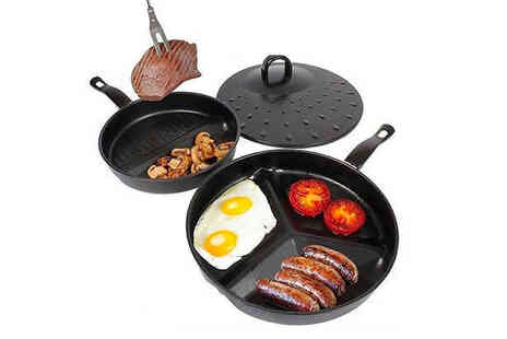 Vivo Mounts - 3 in 1 non stick frying pan with divider pan and lid - Save 50%