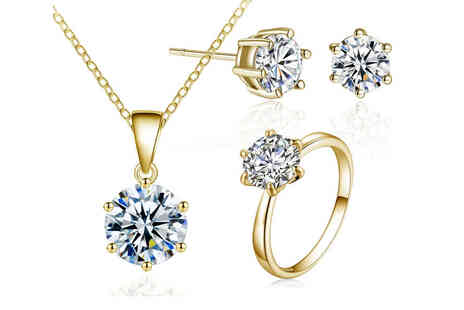 Your Ideal Gift - Gold plated jewellery set made with Crystals including a ring, earrings and necklace - Save 0%